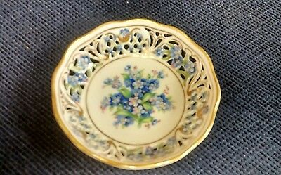 """Schumann Bavaria Germany China Forget Me Not Pierced Nut Dish 4"""""""