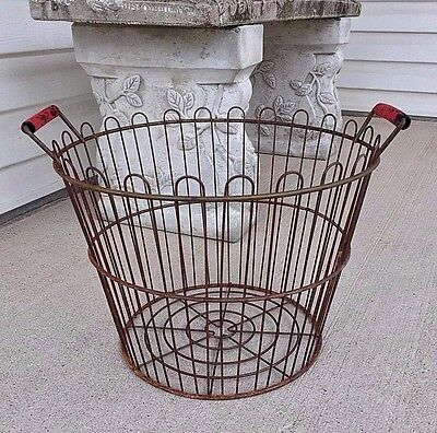 Red Handle Rusty Wire Round Basket  Primitive Country Farmhouse Decor