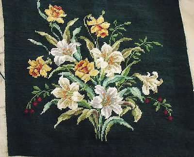 "Lovely Floral Needlepoint Design Complete 14"" x 14 1/2"""