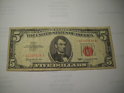 Vintage $5 1963 United States Note Five Dollar Bill Lincoln Red Seal - Red Star