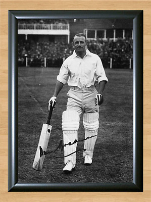 Don Bradman Cricket Signed Autographed A4 Poster Photo Print Memorabilia bat 2
