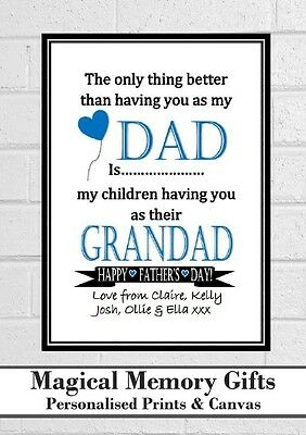 Dad Fathers day grandad father gramps personalised love print gift a4 christmas