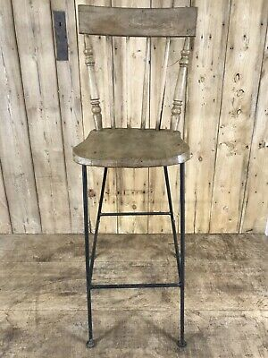 Old Converted Reclaimed Kitchen Dowel Back Stripped & Waxed Elm Chair To Stool