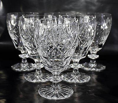 Set of 6, Vintage 1930 - 40's Signed Webb Corbett Cut Crystal Glass Rummers