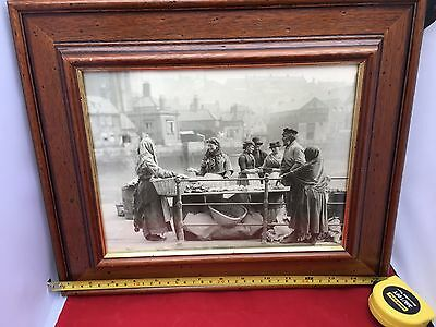 Frank Meadows Sutcliffe Framed Photograph c1890 'A fish stall at Whitby'
