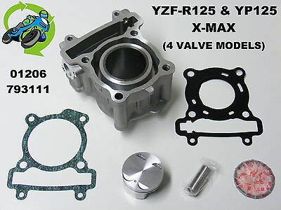New Piston & Cylinder Barrel Top End Kit Set Yamaha Yzf-R125 Yzfr125 R125 08-13