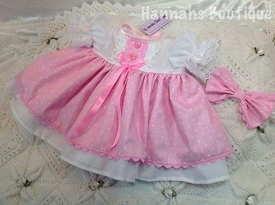 Hannahs Boutique Newborn Baby Pink Lined Dress & Headband Set Or Reborn 17-19""
