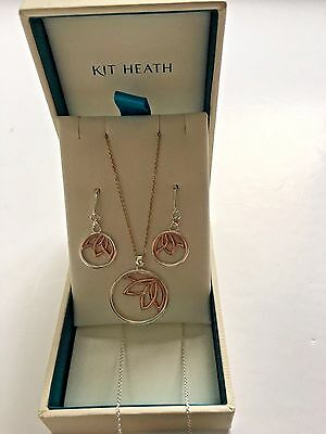 Kit Heath Sterling Silver& Rose Gold Lotus Necklace & Drop Earrings Set rrp £110