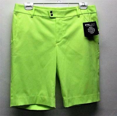 New Womens Size 6 Ralph Lauren RLX Lime golf shorts polyester spandex