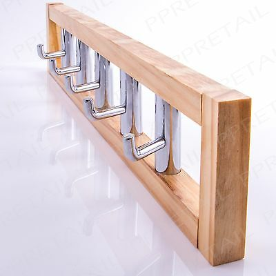 HIGH QUALITY Wood & Chrome 5 Hook Coat Rack Wall Mounted Hanger Clothes/Hat/Robe
