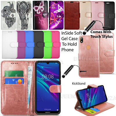 For Huawei Y6 2018 Y6 2017 Y6s 2019 Case Wallet Cover Leather Book Flip +Stylus
