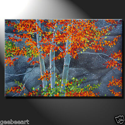 Original Painting Oil Canvas Modern Autumn Aspen Trees Rocks River Bank Signed
