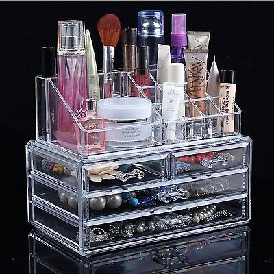 NEW 2017 Make Up Organiser Clear 4 Drawer Cosmetic Display Storage Table