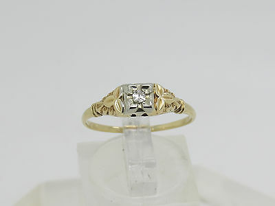 VINTAGE 14k Yellow White Gold Round .035 CT Diamond Engagement Ring Size 8