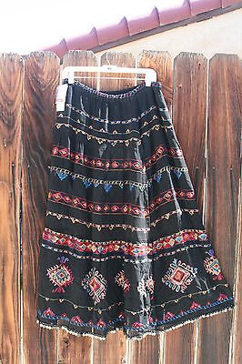 Women's Stunning Lined Black Embroidered / Beaded CHICOS Skirt /Size M 10/12 NWT
