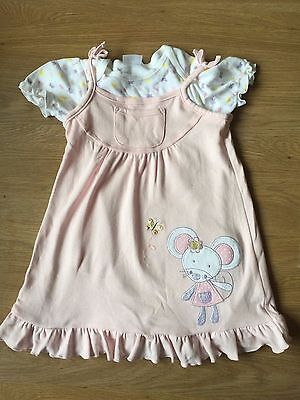 Cute F&F Baby Girl's Pink Dress & Top Set Age 9-12 Months BNWT