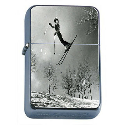Vintage Skiing D26 Windproof Dual Flame Torch Lighter Refillable Winter Skiers