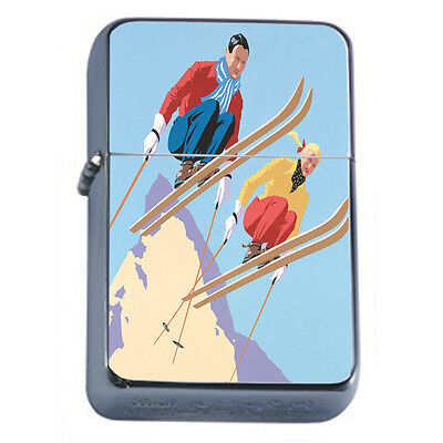 Vintage Skiing D29 Windproof Dual Flame Torch Lighter Refillable Winter Skiers