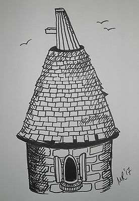 DAILY SKETCH:Original Ink Drawing 'Oast House' by Michelle Ranson