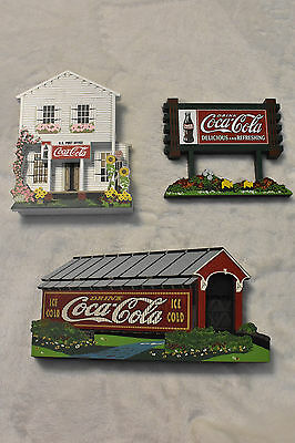 Lot Of 3 Shelia's Collectible Wood Houses! Coca Cola Themed Houses!