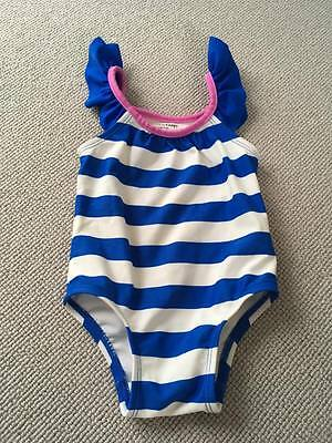 Baby Girls swimsuit Blue and White Stripe- Gap/Baby Gap - 0-6 months