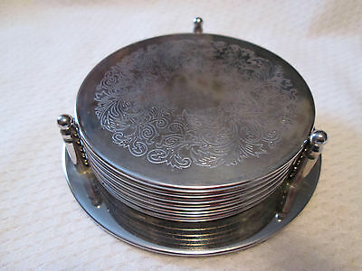 Westminster 6 Silver plate Coaster Set with Holder Unused
