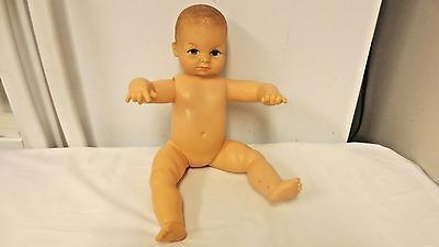 """Older Cameo Marked 14"""" Nude Jointed Hard Vinyl Doll Miss Peep-Molded Hair"""