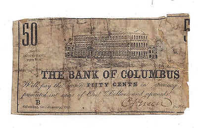 1862 The Bank of Columbus, Ga - Fifty Cent Obsolete Note