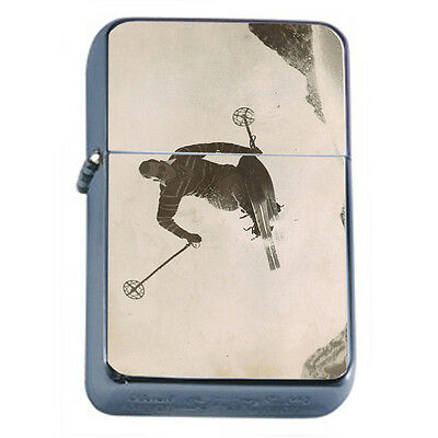 Vintage Skiing D43 Windproof Dual Flame Torch Lighter Refillable Winter Skiers