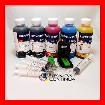 Refill kit for HP N° 901 901XL refill clip + 500ml premium ink inktec + syringes