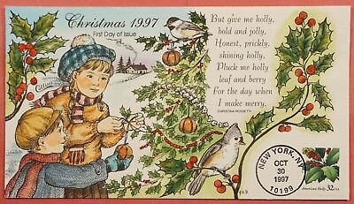 1997 #3177 Holly 32C Fdc Collins Hand Painted Cachet Cover
