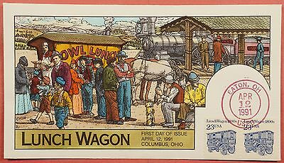 1991 #2464 Lunch Wagon 23C Fdc Collins Hand Painted Cachet Cover