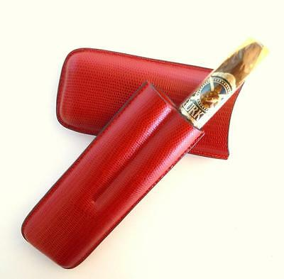 RED SNAKESKIN Pattern Premium Leather Cigar Travel Pocket Case - SHIPS FREE