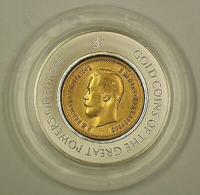 1899 Russia 10 Roubles Gold Coin in Franklin Mint Great Powers of Europe Capsule