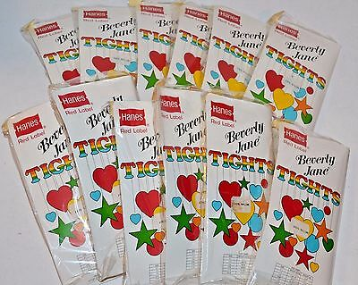 VINTAGE New Lot of 12 Hanes Red Label Beverly Jane Children's Tights White