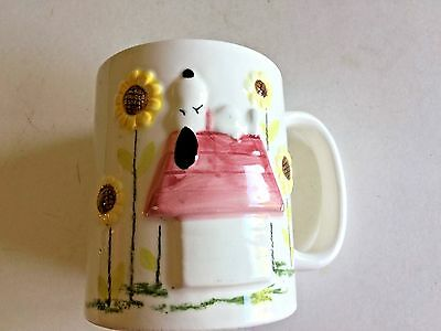1958 Vintage Mug Cup Snoopy PEANUTS Relief 3D Embossed Doghouse Signed