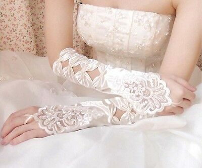 12 inches Ivory Fingerless Stretch Satin Gloves for Bridal Wedding Formal Party
