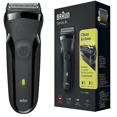 Braun 300s Series 3 Mens Rechargeable Electric Shaver Razor Waterproof - BLACK