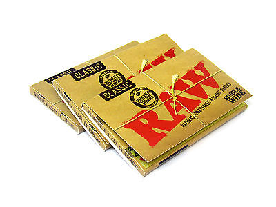 Raw Classic Rolling Papers Single Wide 3 Packs 100 Leaves RYO BOX New