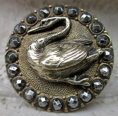 "1&1/16"" Antique Brass SWAN BIRD, CUT STEEL Border"