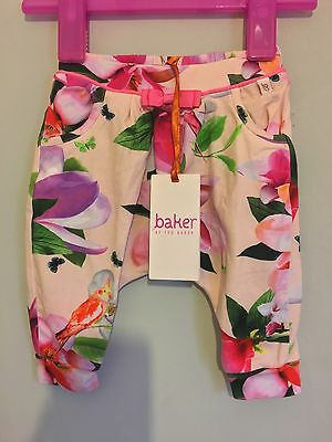 New WithTags Baby Girls Designer Ted Baker Pink Floral Hareem Pant Trousers ��
