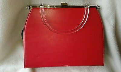 Vintage 1950's Bright Red Pleather Handbag Purse w/ Lucite Handle