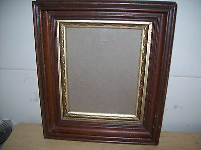 Antique 1850's Deep Cove Fancy Gilded Inset Walnut Wood Picture Frame