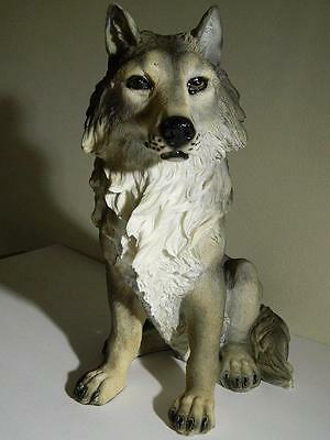 "14"" Gray Wolf Statue Sitting Resin Lifelike Timber Wild Hunter Native American"