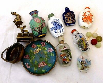 Antique Chinese Snuff Bottle Lot Jade Brass Cloisonne Miniatures NR