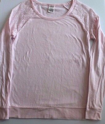 PINK Victorias Secret  Small Pink Lace Long Sleeve Top T Shirt  Cotton  S