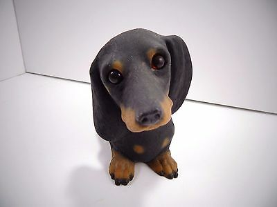 Hand Painted Resin Dachshund Dog Statue Figurine Black & Brown Short Hair 9""