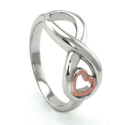 Sterling Silver 925 Infinity Ring w/ Rose Gold Plated Heart