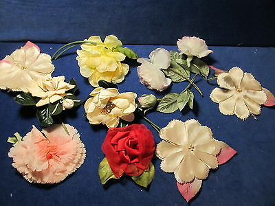 Pretty Vintage Milliners Hat Clothing Trim Craft Fabric Flowers Lot of 11 pieces