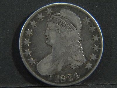 1824 US 50c Half Dollar Capped Bust Silver COIN No Reserve